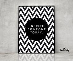 Plakat - Inspire someone today A3 - lemonducky - Plakaty typograficzne