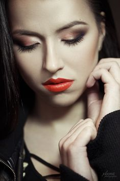 portrait, lips, make-up, eye shadow, skin, close up, orange lips, darkhair Orange Lips, Eye Shadow, Close Up, Halloween Face Makeup, Engagement, Eyes, Portrait, Model, Photography