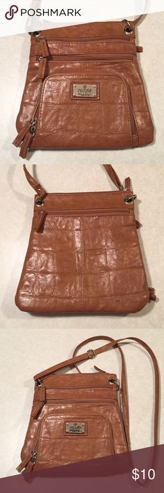 Nicole by Nicole Miller crossbody bag Brown/tan crocodile leather, 5 compartments, built in cardholder, great condition, adjustable strap. Nicole by Nicole Miller Bags Crossbody Bags