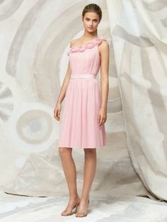 Chiffon One Shoulder Delicately Pleated Bodice Cocktail-Length Special Occasion Dress