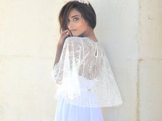 Bridal lace cape bride shawl with lace  lace shrug by Barzelai