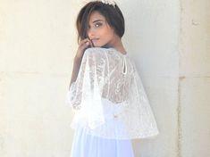 Bridal lace cape bride shawl with lace  lace shrug by Barzelai