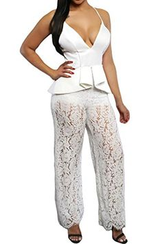 Rokiney Women Sexy Deep v Neck Spaghetti Strap Lace Peplum Jumpsuits Dress White -- Read more reviews of the product by visiting the link on the image.