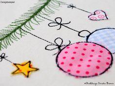 Christbaumkugel Doodle Stickdatei. Bauble appliqué embroidery file for embroidery machines. ©KerstinBremer.de