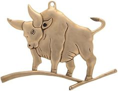 Kapasi Handicrafts Brass Animal Sculpture Statue Bull  OX  Wall Street Stock Market Desk Decor Art Wall Hanging  Wall Piece 26 x 19 x 1 cm Gold ** Read more reviews of the product by visiting the link on the image.