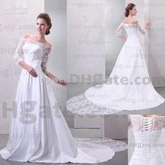 2013 Wedding Dresses Off Shoulder Appliques With Long Transparent Sleeves Court Train Bridal Dresses Real Image Z303, $167.71   DHgate.com