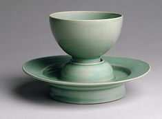 Cup and stand, Goryeo dynasty (918–1392), first half of 12th century  Korea  Stoneware with celadon glaze; H. 2 7/16 in. (6.2 cm), Stand: H. 1 7/8 in. (4.8 cm)  Fitzwilliam Museum, Cambridge