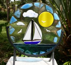 DO SOUTH Fused glass blue sailboat on a by IZABELLAArtGlass, $175.00