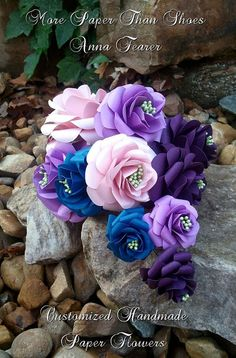 Handmade Paper Roses - Wedding - Custom Colors Available - DIY - Bouqet