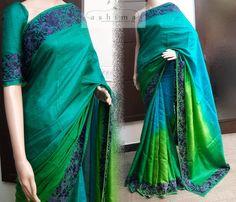 Code:2707170 - Price INR:12890/- , Shaded Tussar Saree With Parsi Work.