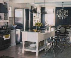 Love this idea of converting farmhouse table into bar area.