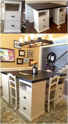I really like this for a craft room or study/work space for kiddos DIY craft table made from IKEA parts Sewing Rooms, Sewing Spaces, Room Organization, Cheap Home Decor, Home Projects, Craft Projects, Storage Spaces, Sweet Home, New Homes