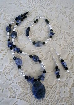 """DIY Jewelry set """"Mary"""" with Blue Sodalite & Black by SassiFrassHill, $20.00 Have a DIY jewelry party with your friends and make yourself something beautiful!!"""