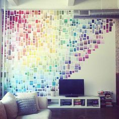 Celebrate your dorm room - with paint swatches! Create a rainbow effect like Liz Apple's rainbow wall of paint chips or use paint swatches to create waves or patterns of color too! What a great way to liven up a room and make it your own! Weekend Projects, Projects To Try, Craft Projects, Sewing Projects, Diy Décoration, Diy Crafts, Decor Crafts, Art Decor, Easy Diy