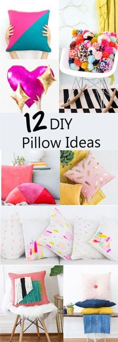 12 DIY Throw Pillow Ideas - How to sew a pillow - trendy modern pillows - home decor - pom poms - velvet - woven - emoji - pretzel - abstract art - craft - sewing tutorial