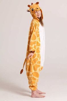 Ready to be a jumping giraffe in this exceedingly funny costume? This full-size outfit with a hood is ideal for theme parties and fancy dress competitions! Soft, floppy hood adds a touch of realism to Pyjamas, Onesie Pajamas, Cute Pajamas, Pyjama One Piece, Pijamas Onesie, Fancy Dress Competition, Cute Onesies, Funny Costumes, Looks Chic