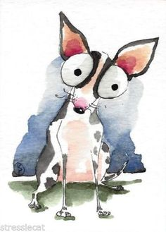 ACEO-Original-watercolor-whimsical-animal-painting-dog-Daisy-girl-Chihuahua-4