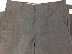 Towncraft Mens Gray Slacks Pants Waist Size 33 Inseam 40 Unhemmed Wool Blend NWT #Towncraft #DressFlatFront