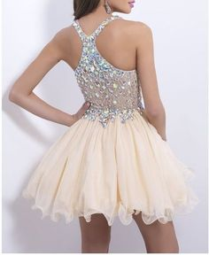 champagne homecoming dress with beaded bodice chiffon skirt,short prom dress,homecoming dress 2016