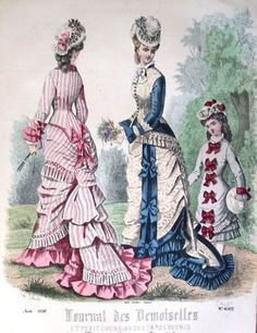 Resultado de imagen de journal des dames 1874--Not Godey's, but Beth would have loved the pink-striped one.