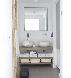 Supreme bathroom with oval washbowls, niches, ladder, oakwood shelves perfect! Design by Natasja Molenaar Bad Inspiration, Bathroom Inspiration, Laundry In Bathroom, Small Bathroom, Natural Bathroom, Shared Bathroom, Bathroom Bath, Bath Room, Apartment Projects