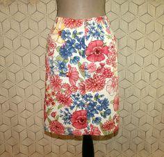 90s Cotton Skirt Floral Skirt Casual Skirt Midi Pencil Skirt