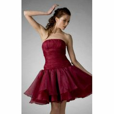 A-line Strapless Knee-length Organza Cocktail/ Homecoming Dress