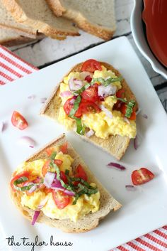 A delicious Breakfast recipe that everyone will love! Scrambled Egg Bruschetta is loaded with eggs, cheese and veggies!