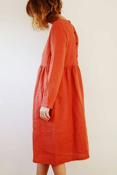 Vestito di lino arancione bruciato Abito manica lunga