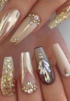 Latest Glitter Acrylic Nail Art Designs Ideas For Long Nails 01 Gold Acrylic Nails, Gold Nails, Acrylic Nail Designs, Glitter Nails, Nail Art Designs, Nails Design, Nail Designs With Gold, Gold Glitter, Gradient Nails