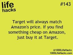 Another inner wrote ~ I double-checked this and it's true! The item on Amazon MUST be being sold by Amazon though-- no third-party sellers.  Target also price matches Toys R Us, Best Buy, and Babies R Us!  I edited the source so you can click on this pin and read the Target Price Match policy on their website. :)