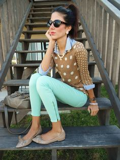 LINEN DOT POPOVER for J.Crew and mint jeans, via Running Late