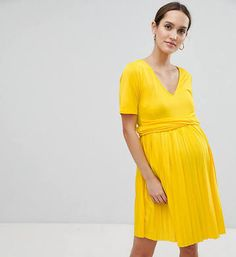 386890a69ee7d ASOS DESIGN Maternity pleated skater dress with wrap waist - Yellow