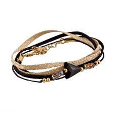 Bracelet fleche LIVIA noir et or