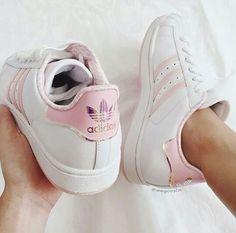 Baby pink adidas superstars