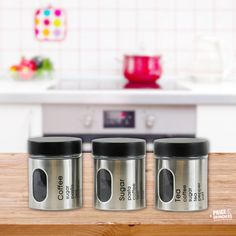 3 Set Kitchen Canister Storage Set Tea Coffee Sugar Stainless Steel Jars Silver