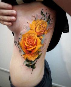 Yellow Roses @ Adrian Ciercoles Tattoo Shop in Munich, Germany Love Tattoos, Beautiful Tattoos, Body Art Tattoos, Tribal Tattoos, Tattoos For Women, Tattoos Pics, Yellow Tattoo, Yellow Rose Tattoos, Unique Half Sleeve Tattoos