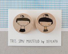 Girl and boy I  Pack of illustrated wooden brooches by depeapa, $22.00
