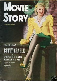 Betty Grable on the cover of Movie Story magazine, January 1949.