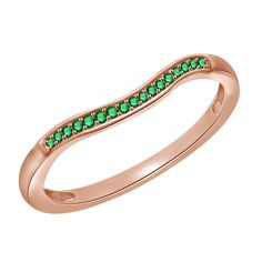0.15ct Round Cut Green Emerald Rose Gold Anniversary Band Ring + Black Diamond #Affinitydiamondjewelry #AnniversaryBand