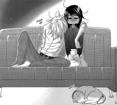 Dengeki Daisy - Teru x Kurosaki. This scene made me crack up; I love them!! don't get too drunk next time!!! although he acts a bit more romantic when he's drunk... and look at her face! --Dengeki Daisy