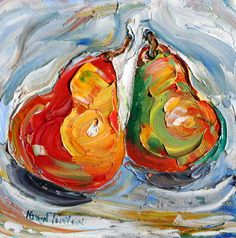 Original oil painting PEARS still life abstract by Karensfineart