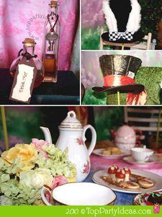 Alice in Wonderland and Mad Hatter Tea Party - Tea Table, Mad Hatter Hat, Rabbit's Hat, Drink Me Bottle