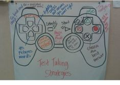 I created this video game control chart with my teammate to engage students with test taking strategies. We traced this shape using the projector and then the students decided what the buttons woul...
