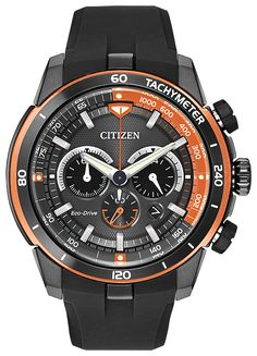 @citizenwatchus Eco-Drive Ecosphere is a big, sporty timepiece with a 48-mm case and a black polyurethane strap;