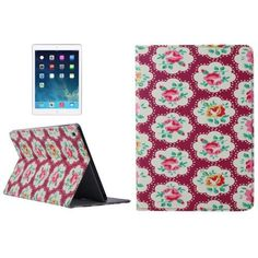 For+iPad+Air+Flower+Pattern+Smart+Cover+PU+Leather+Case+with+Card+Slots