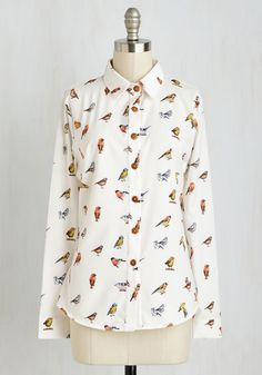 Bird It All Before Top. No compliment is news to you when youre styled in this quirky Oxford! #white #modcloth
