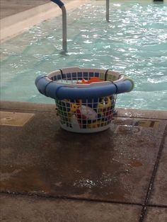 Great idea....pool noodle attached to a basket with zip ties to make a floatable you bin.