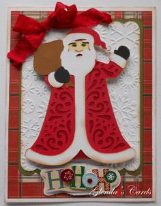 Cricut cartridge A Quilted Christmas card ideas | Glenda's Cards: A Quilted Christmas - Santa