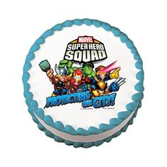 Super Hero Squad Edible Cake Image Birthday Party -- Continue to the product at the affiliate link Amazon.com.